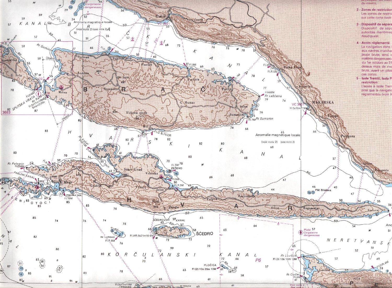 Base de cartes marines   Croatie : cote de Dalmatie centrale